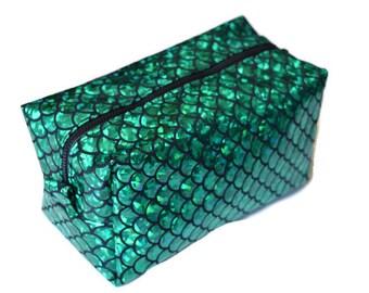 Green Mermaid Makeup Bag - Mermaid Pencil Case - Cosmetics Bag - Travel Pouch - Dopp Kit - Teen Gift - Stocking Stuffer