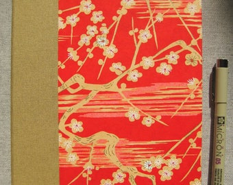 Large Lined Handbound Hardcover Journal Flowers Gold/Red/Pink