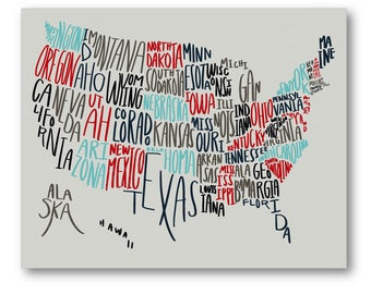 United States Typography Map Poster, Handwritten US States Art, USA Map Art, USA Typography Art, United States Map Gift, America Map Canvas