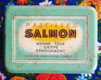 Vintage box. French advertising medical box. Pastilles. French vintage. Storage box. 1950s.