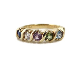 Vintage Mothers Ring, Gold Ring, Gold Rings Women, Diamond, Amethyst, Peridot, Topaz, Sapphire Ring, Promise Ring, Statement Ring