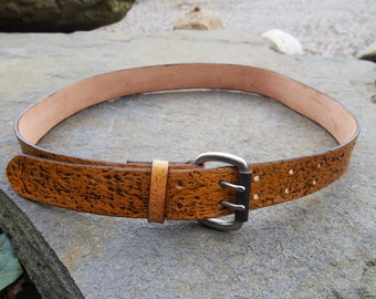 leather belt, handmade, original fakture and colour