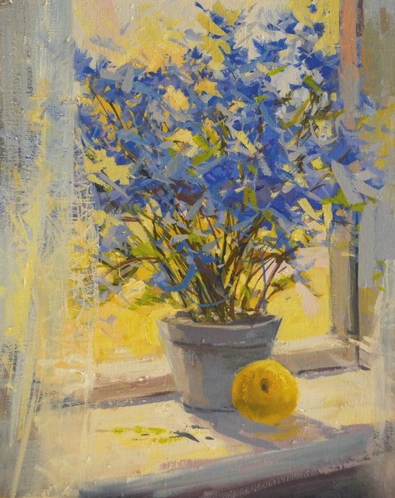Yellow Blue Flowers Painting Print Floral Canvas Art Yellow