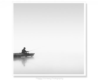 Fishing Art Decor, Fishing Photograph, Gift For Fisherman, Black and White Photography, Mindfulness Art Print, Wall Art for Bathroom