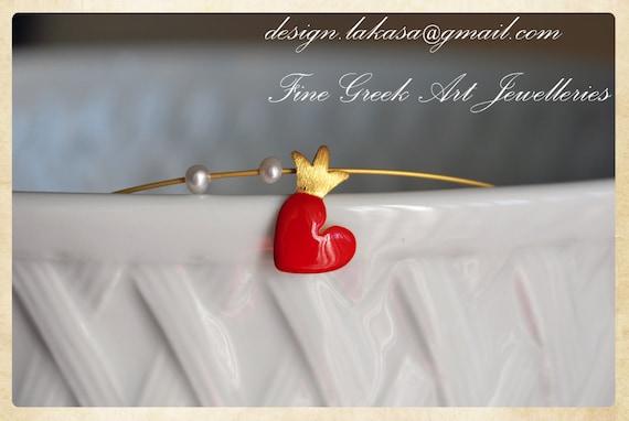 Necklace Enamel Heart Crown Sterling Silver Gold plated Jewelry Lakasa eshop best ideas gifts fine greek art valentine love girlfriend woman
