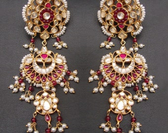 Traditional Indian Wedding Pearl Or Ruby Gold Plated 925 Sterling Silver Stud Earrings