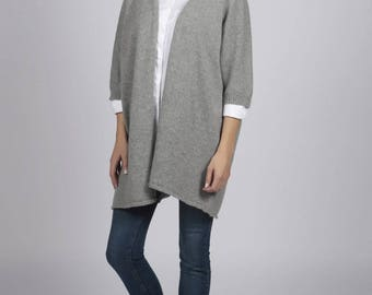 Light grey pure cashmere duster cardigan
