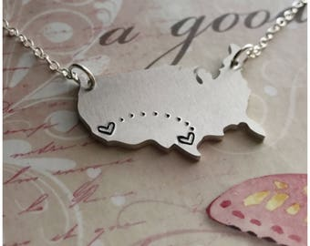 Long Distance Necklace - Long Distance Friendship - Handstamped US Map - Aluminum USA Map Necklace - Custom Long Distance Relationship Gift