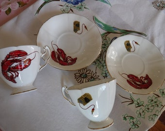 Maritime Lobster by Adderley bone china teacups and saucers
