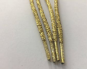 45 in (110  cm) long Gold Round Shoelace, Shimmery Shoelace, Glitter Shoelace, Shiny Shoelace, Shimmery Cord, Shiny Cord