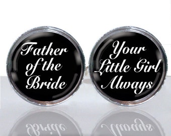 Round Glass Tile Cuff Links - Father of the Bride CIR118