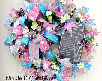 Mothers Day Wreath- Spring Wreaths- Summer Wreaths- Front Door Wreaths- Deco Mesh Wreaths