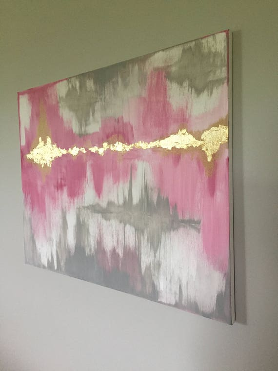 Modern Items similar to Abstract painting Pink Grey White with Gold Leaf on Etsy Simple - Style Of grey pink paint Minimalist