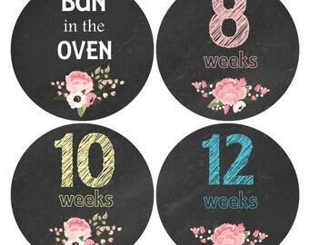 16 Baby Bump stickers, Pregnancy Week Sticker, Weekly Belly Stickers, Pregnancy Announcement, Chalkboard sticker, Flower Bump Stickers, B200