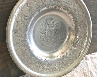 Vintage Aluminum Serving Tray- Floral Motif