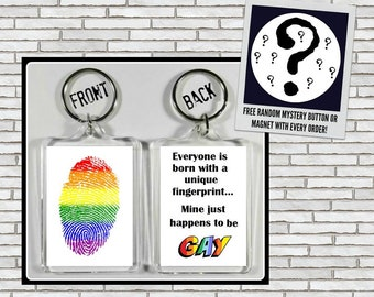 Gay Fingerprint Themed Keychain Key Ring Made Of Clear Acrylic + Free Gift Gay Pride LGBT LGBTQ Lesbian