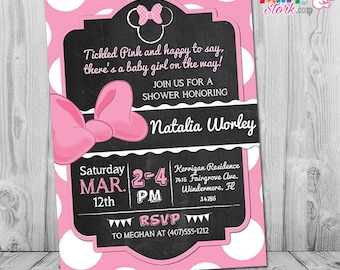 Minnie mouse baby shower invitations printable minnie mouse minnie mouse baby shower invitation pink and black minnie mouse baby shower invites baby shower invitations for a girl filmwisefo