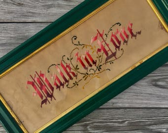 """25""""x11"""" Walk in Love Framed Embroidered Victorian Edwardian Needlepoint Wooden Green Frame Religious Biblical Inspirational Life Quote"""