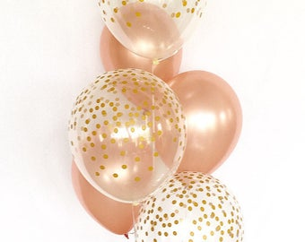 Rose Gold and Clear Gold Confetti Latex Balloons~First Birthday~Wedding~Bridal Shower~Birthday~Rose Gold Balloons~Gold Confetti Look Balloon