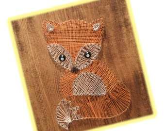 String art, fox, animals, kids room, easter, wall decor