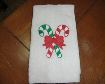 White Embroidered Finger Tip Towel  - Candy Canes