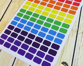 Rainbow Square stickers - Planner stickers