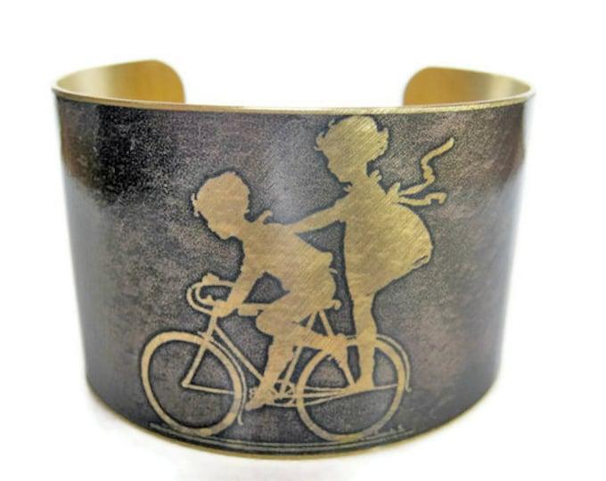 Kids on Bike cuff bracelet brass Gifts for her