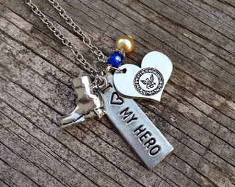 Military Necklace / Navy, Army, Marines Available / Military Wife / Military Girlfriend / JROTC / military charms