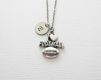 I Love Football Necklace, Football Mom, Team Player Gift, Rugby, BFF, Silver Necklace, Personalized Monogram, Hand Stamped Letter Initial