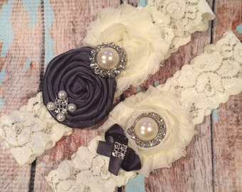 61 different colors / Wedding garter / CHARCOAL  garter set / wedding garters / bridal  garter/  lace garter / vintage lace garter