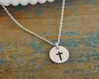 Tiny Sterling Silver Cross Necklace, Hand Stamped, Everyday Jewelry, First Communion Gift, Confirmation Gift, Little Girl Cross Gift For Her