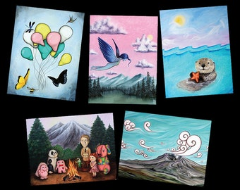 Whimsical Nature Themed Postcard Variety Pack - Featuring 5 paintings by Marcia Furman