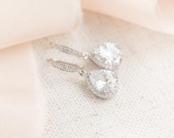 Teardrop Bridal Earrings, Silver Wedding Earrings, CZ Earrings, Wedding Jewellery