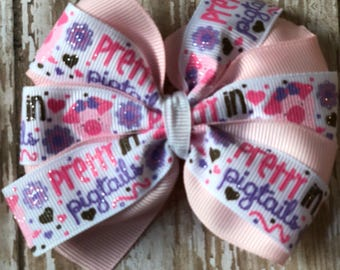 Double stacked pretty in pigtails bow