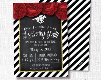 Kentucky Derby Party Invitation, Printable, Horse Invite, Run for the Roses, Elegant, Gold Glitter, Gala, Auction, Benefit, Black, Red, 2018