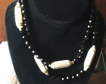 Black glass and mother of pearl beaded necklace