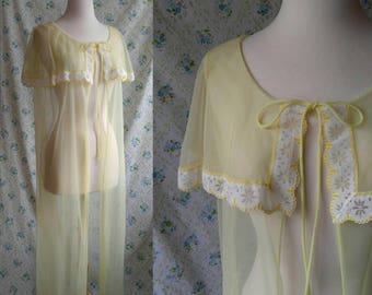 1960s lemon chiffon floor length caplet penoir