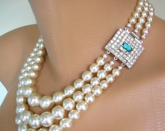 Emerald Necklace, Pearl Bridal Necklace, Great Gatsby, Vintage Pearl Choker, Green Rhinestone Jewelry, Statement Necklace, Wedding Jewelry,