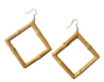 Tiki Square Bamboo Earrings (Original)