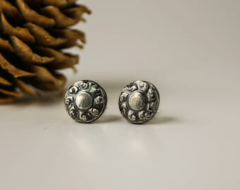 Organic Style Sterling Silver Post Earrings - Handmade Rustic Unisex Studs with Patina