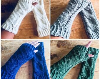 Aspen Knit Fingerless Gloves - Handknit Armwarmers