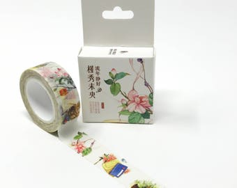 Traditional Japanese Floral Design Washi Tape // Watercolor Floral Decorative Tape for Bullet Journal, Planners, and Collages // 15mm/8m