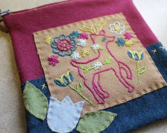 Hand Embroidered Folk Art Wristlet Wild Deer and florals-Made with Pendleton Wool-Cell Phone-Money Holder