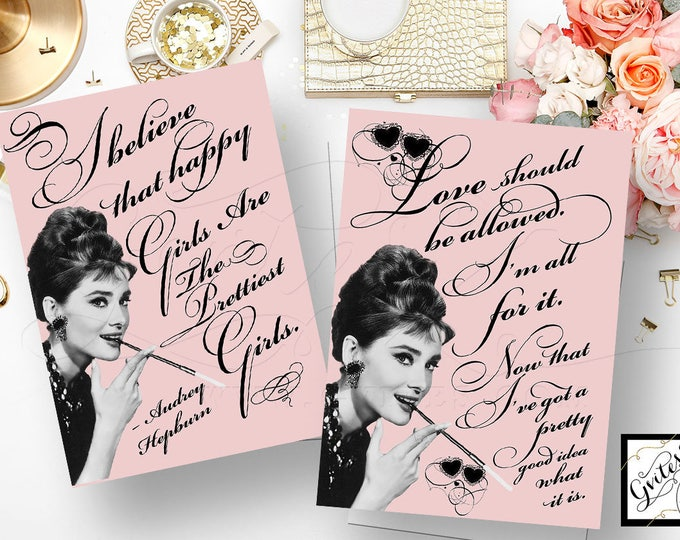 Pink Audrey Hepburn Quote Signs, love should be allowed, Happy girls are the prettiest girls, party favors, CUSTOMIZABLE {5x7 Set of 2}