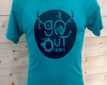 "Merino/silk ""go play outdoor"" T-shirt Green"