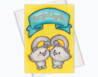 CAT LOVE CARD - Purrfect Together Card Cat - Cat Valentine's Card - cat greeting card