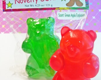 Gummy Bear Bath Soap Big 3D Bar Handcrafted Scented Glycerin Novelty Fake Candy