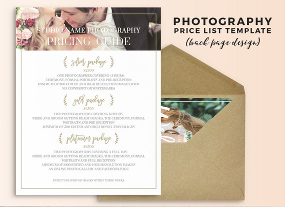 Photography Price List Template  Wedding Photography Pricing Guide