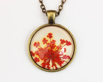 Red pressed flower necklace