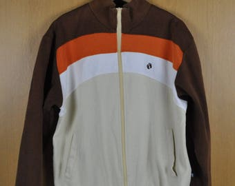 Vintage Jacket Sweater Hang Ten Zipper Footprint Striple Color Men Women Clothing Nice Shirt
